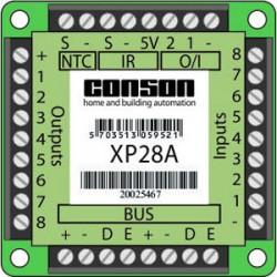 XP28A - Interface 8 ingangen, 8 uitgangen, 2 I/O, 1 temperatuuringang, voor 38 kHz infrarood-bedieningen